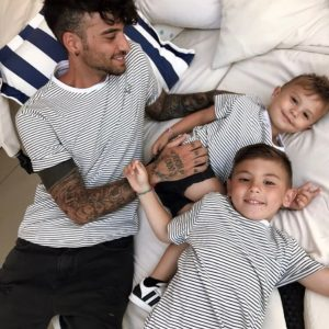 Matching Father and Son striped t-shirts