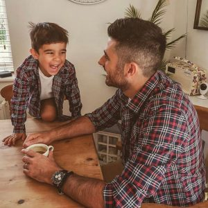 Matching father and son checked shirt