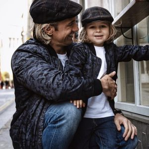 MANCUB Matching Father and Son Bomber Jackets in blue camo