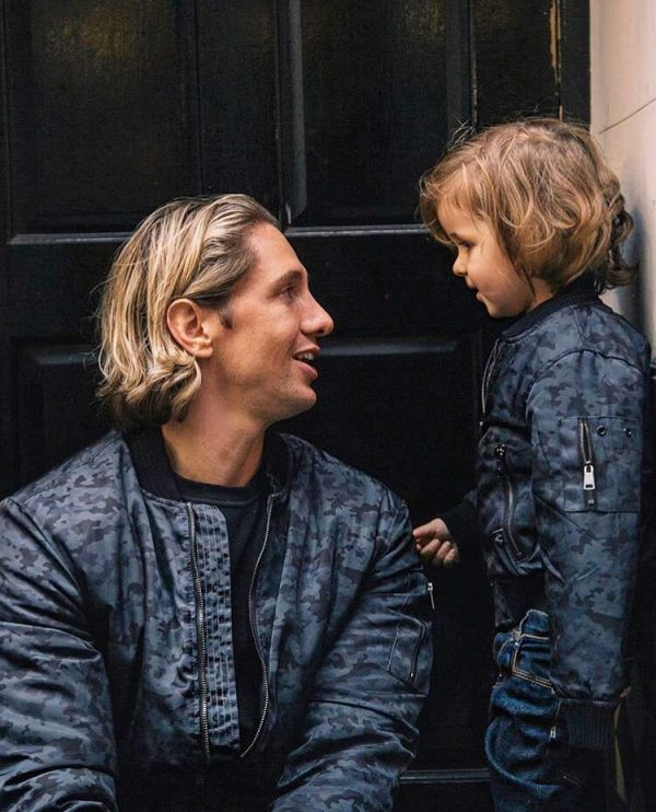 Father and son matching jackets