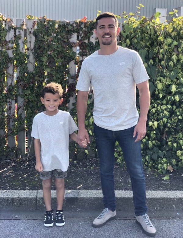 Boxer Anthony Crolla and his son wearing MANCUB Print T-shirt in Grey Marl