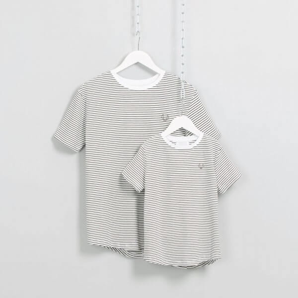 Matching dad and son striped t-shirts