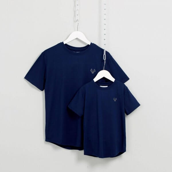 Father and son matching t-shirts in navy