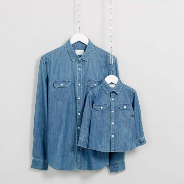 Father and son denim shirt
