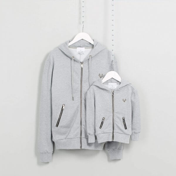 Father and son matching hoodies