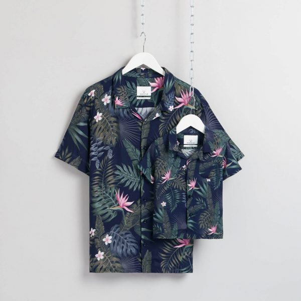 Matching father and son Hawaiian shirts