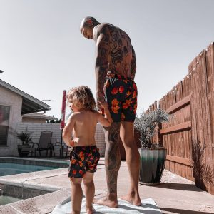 Matching Swim Shorts Orange Bloom