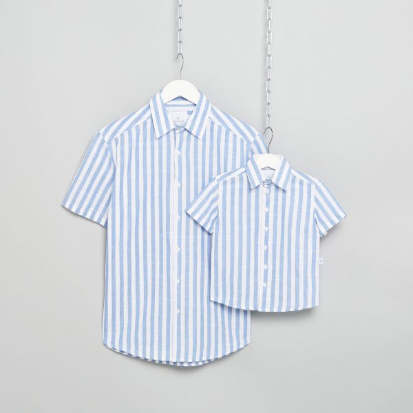 Matching Father & Son Striped Linen Shirts